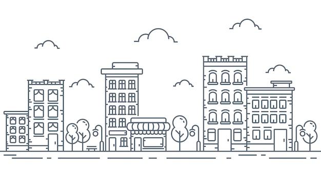 細い線の都市図 Premiumベクター
