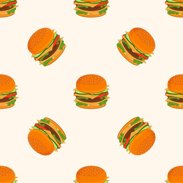 ハンバーガーの模様。 Premiumベクター