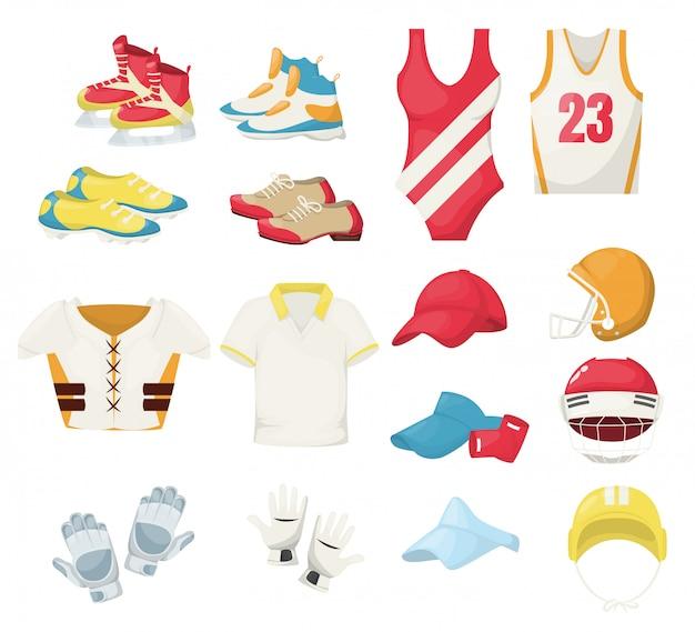 スポーツ用具および備品フィットネスジムのスニーカーと服のトレーニング。トレーニングフィットスポーツウェアランニング水泳バスケットボールテニスホッケーゴルフ保護ユニフォーム Premiumベクター