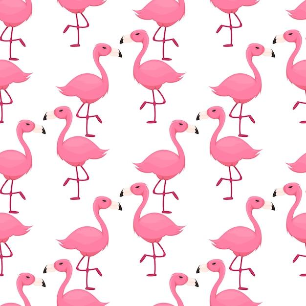 フラミンゴのシームレスパターンピンクの鳥 Premiumベクター