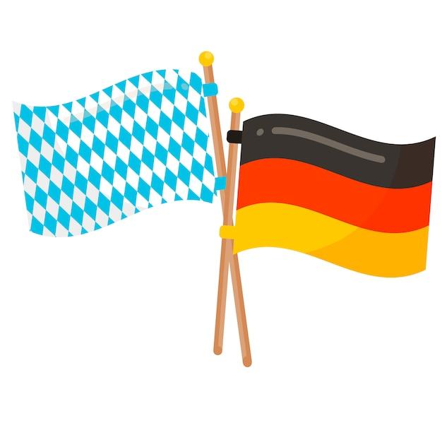 ドイツとバイエルンの旗 Premiumベクター