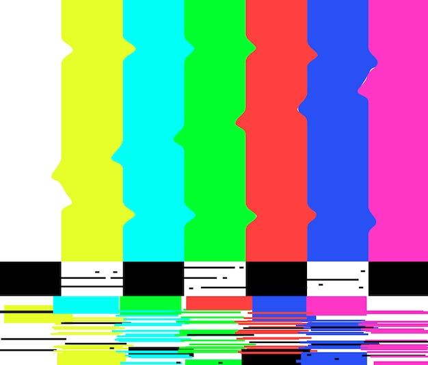 シグナルポスターテレビなしレトロなテレビテスト画面のグリッチカラーバー。 Premiumベクター