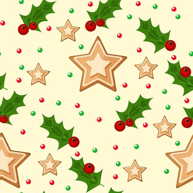 クリスマスの小ぎれいなな枝とヒイラギの果実と星のイラスト冬の休日クリスマス包装紙。 Premiumベクター