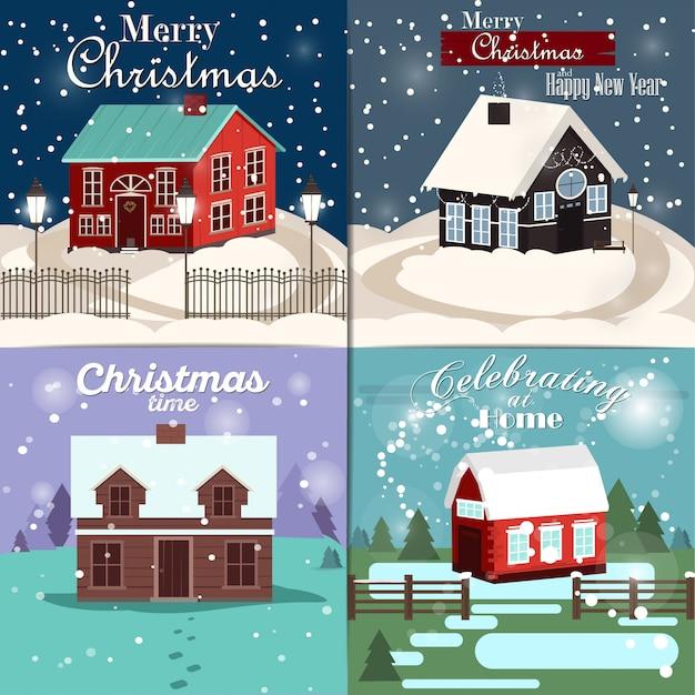 冬の家でクリスマスカードのセット Premiumベクター