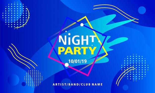 Ночь вечеринка дизайн плаката шаблон на синем фоне Premium векторы