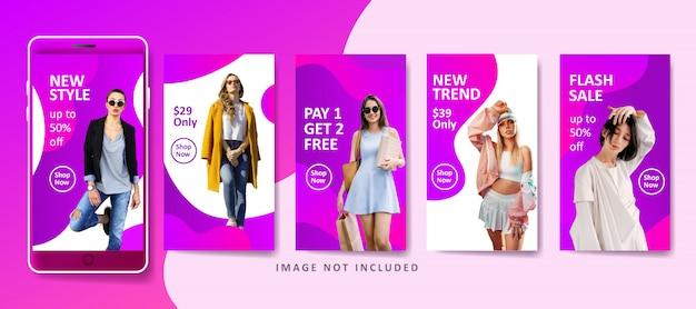 Современная мода жидкий баннер шаблон для социальных медиа Premium векторы