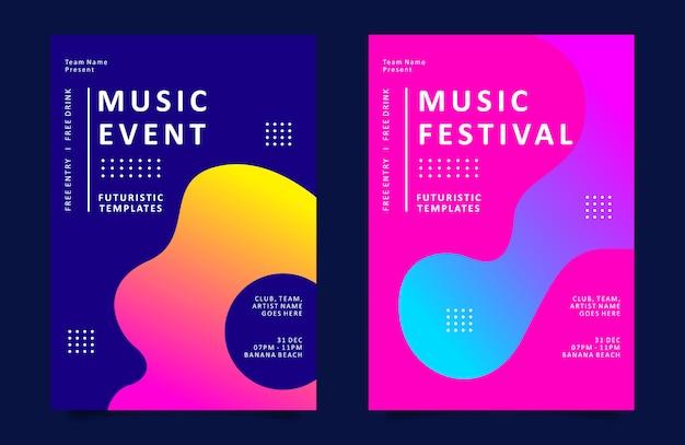 Музыкальный плакат или флаер с разноцветной жидкой формой Premium векторы
