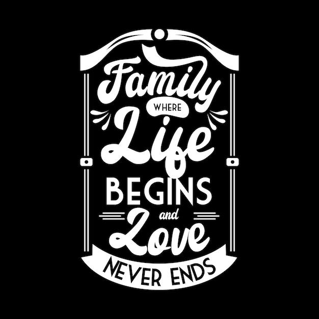 家族、愛、人生についてのタイポグラフィレタリングポスター Premiumベクター