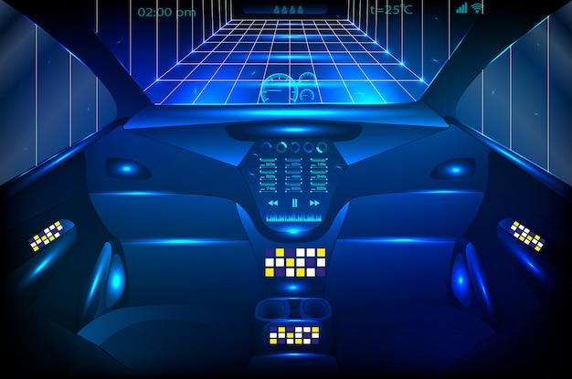 車両のコックピットの正面図と無線通信ネットワーク、自動運転車。 Premiumベクター