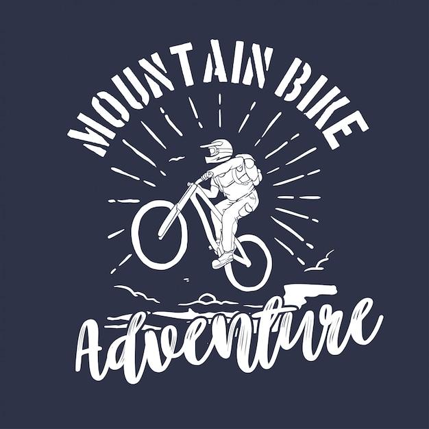 Испытания на горных велосипедах. спортивная эмблема Premium векторы