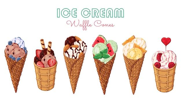 Векторное мороженое, украшенное ягодами, шоколадом или орехами. Premium векторы
