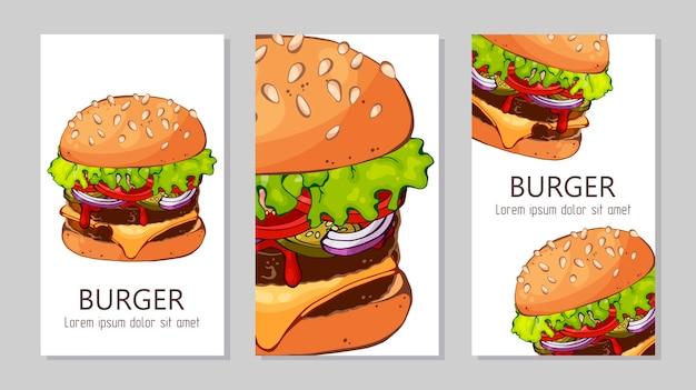 さまざまなレシピからハンバーガーを宣伝するためのテンプレート。 Premiumベクター
