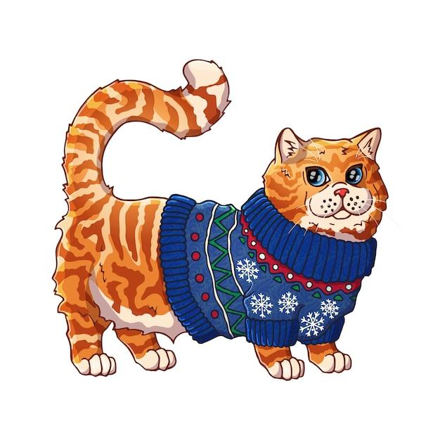 Кошка в свитере. мультипликационный персонаж. домашнее животное. Premium векторы