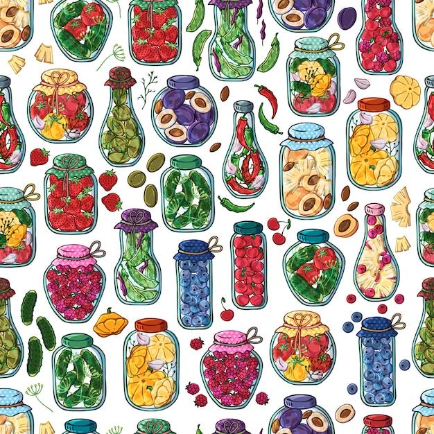 缶詰の野菜や果物の瓶をベクトルします。 Premiumベクター