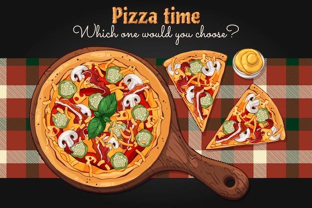 ベクター。ファーストフードのテーマ:ボード上のピザ Premiumベクター