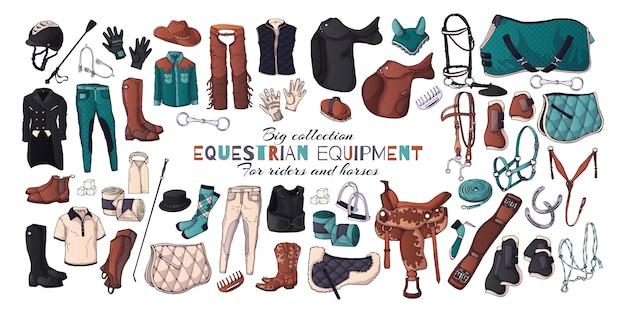 乗馬用品のテーマのベクトルイラスト。 Premiumベクター