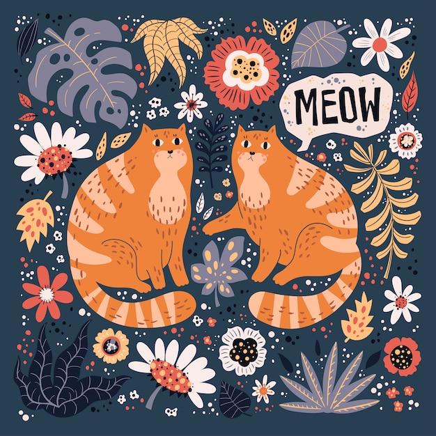 Вектор плоской рисованной иллюстрации. симпатичные кошки с растениями и цветами. Premium векторы