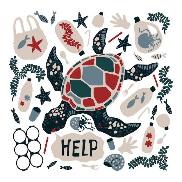 海洋ごみと廃棄物に囲まれたベクトルフラット手描き亀。 Premiumベクター
