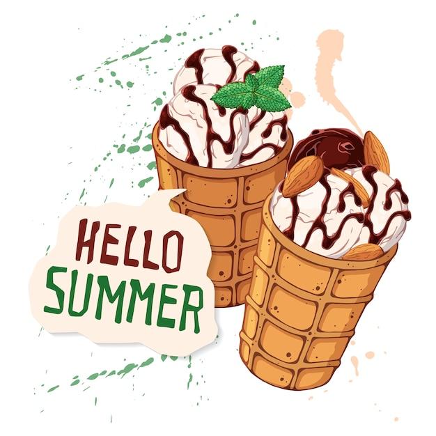 ベリー、チョコレートやナッツで飾られたワッフルコーンのベクトルアイスクリーム。 Premiumベクター