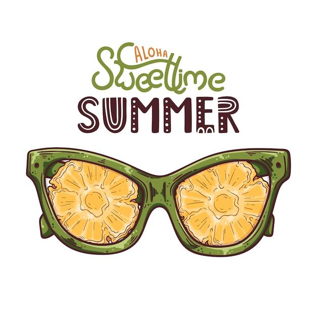 Векторная иллюстрация очки с ананасом вместо линз. Premium векторы