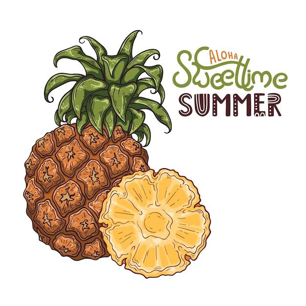 Векторная иллюстрация ананаса. надпись: алоха, сладкое время лета. Premium векторы