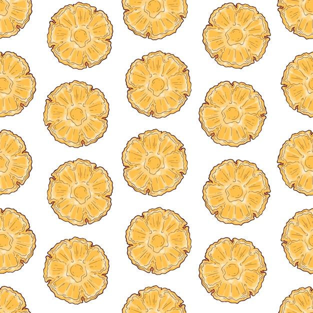スケッチスタイルのパイナップルのベクトルパターン。 Premiumベクター