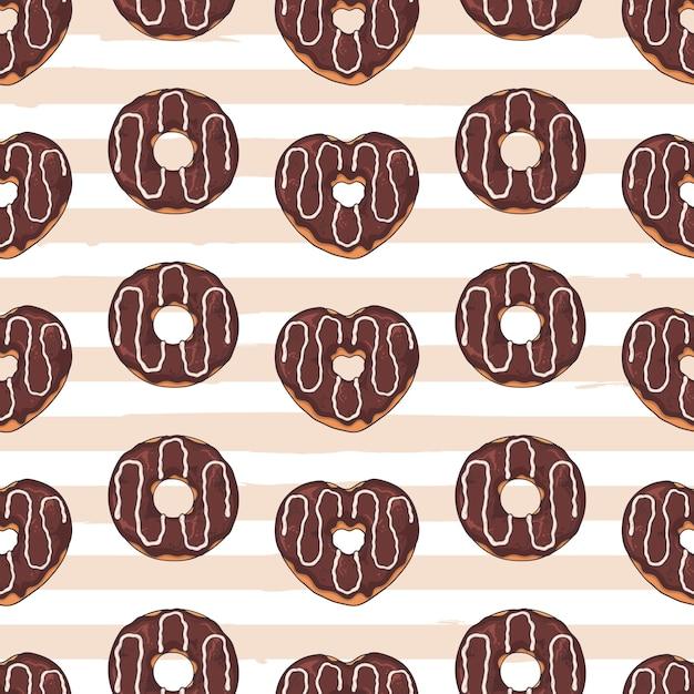 シームレスパターン。トッピング、チョコレート、ナッツで飾られた艶をかけられたドーナツ。 Premiumベクター
