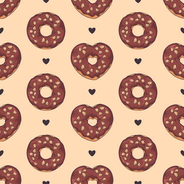 シームレスパターンベクトル。トッピング、チョコレート、ナッツで飾られた艶をかけられたドーナツ。 Premiumベクター
