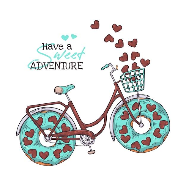 車輪の代わりにドーナツを持つ自転車。 Premiumベクター