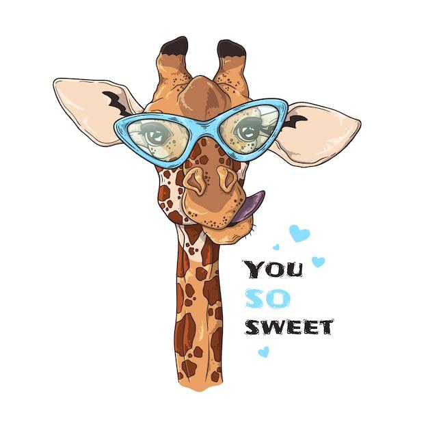 イラストをスケッチします。カスタムメガネで面白いキリンの肖像画。 Premiumベクター