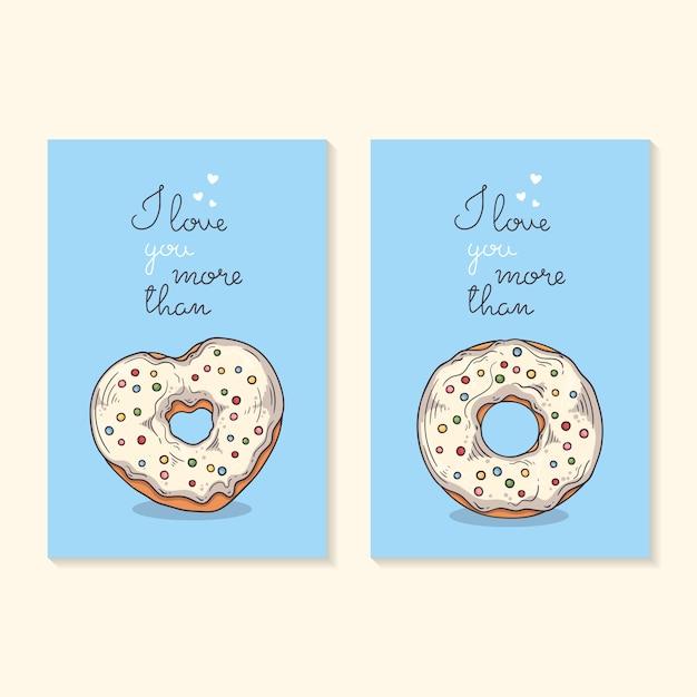 バレンタインデーおめでとうございます。ドーナツとカード。 Premiumベクター