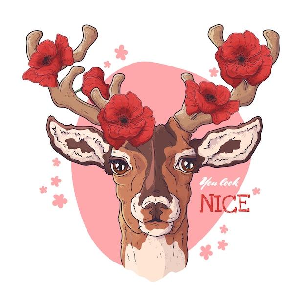 ポピーと鹿の肖像画。 Premiumベクター