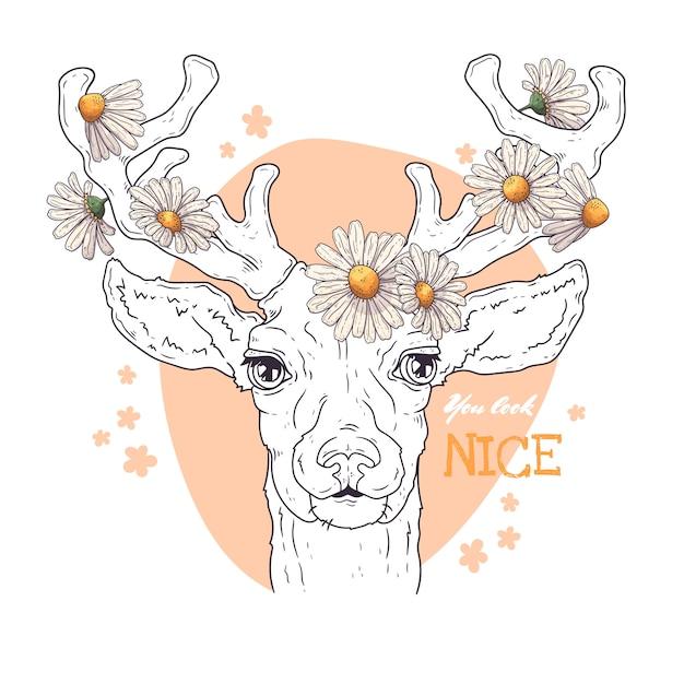ヒナギクと鹿の肖像画。 Premiumベクター