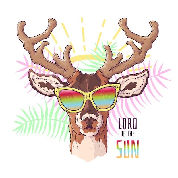 ベクターの手描きイラスト。メガネでかわいい現実的な鹿の肖像画。 Premiumベクター