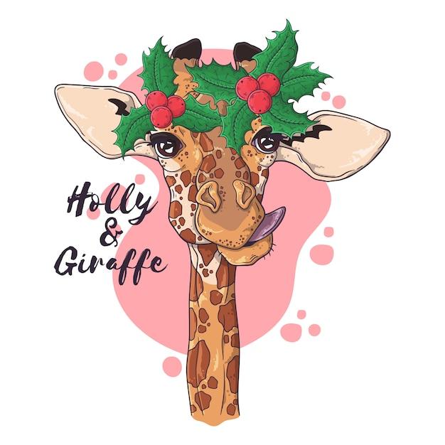 Ручной обращается портрет жирафа в рождественские аксессуары Premium векторы