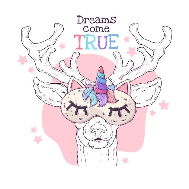Вручите вычерченную иллюстрацию милых оленей в маске ночи. , Premium векторы