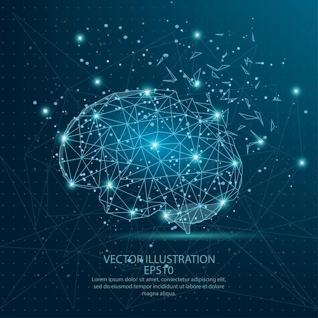 脳は青い背景に低ポリワイヤーフレームを形成する。 Premiumベクター