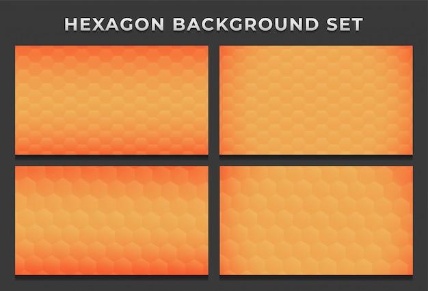 Оранжевый пчелиный улей с шестигранной гексагональной современный фоновый узор набор Premium векторы