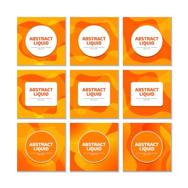 ソーシャルメディアの投稿のオレンジ色の液体流体現代のトレンディな背景。 Premiumベクター