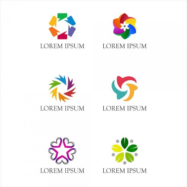抽象的な円形のロゴ Premiumベクター