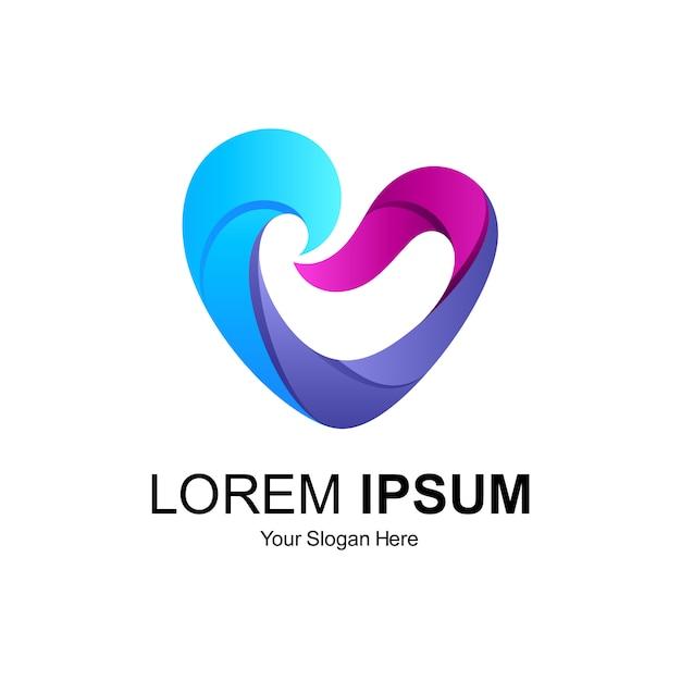 Дизайн логотипа сердечной волны Premium векторы