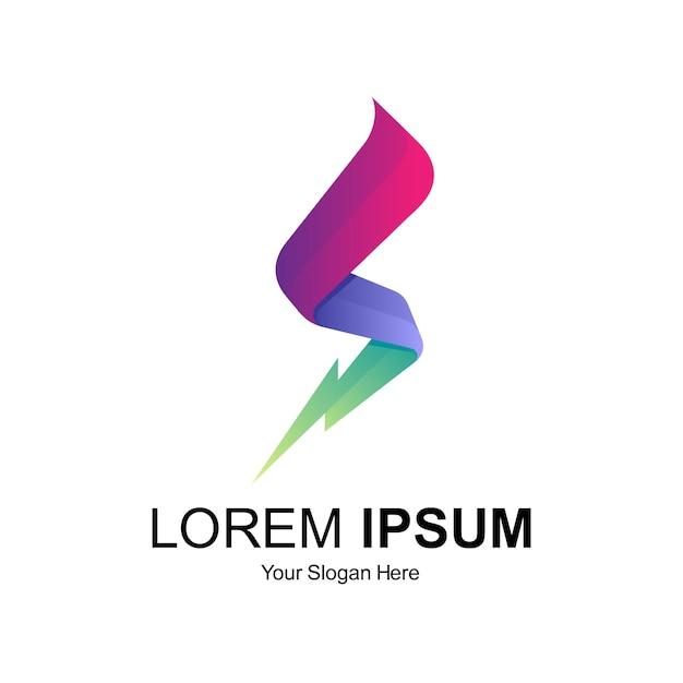 Письмо с громом дизайн логотипа Premium векторы