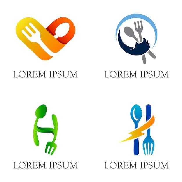 Дизайн логотипа с изображением ложки и вилки для ресторанов и ресторанов Premium векторы