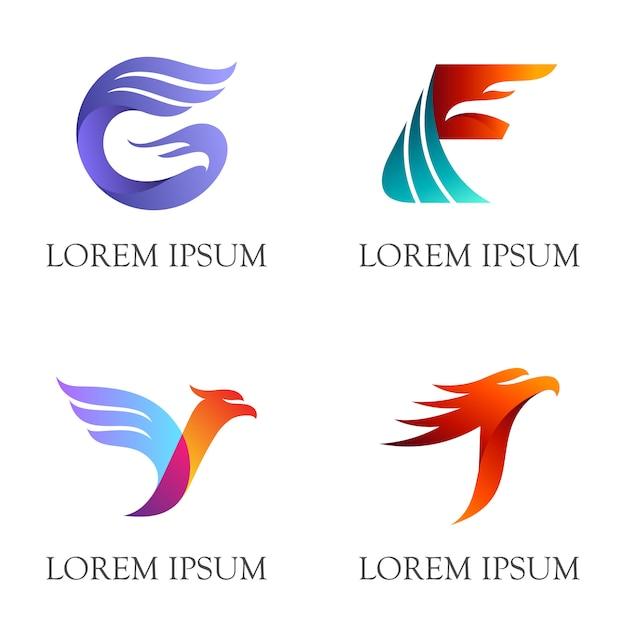 イニシャル/文字とワシのロゴデザインの組み合わせ Premiumベクター
