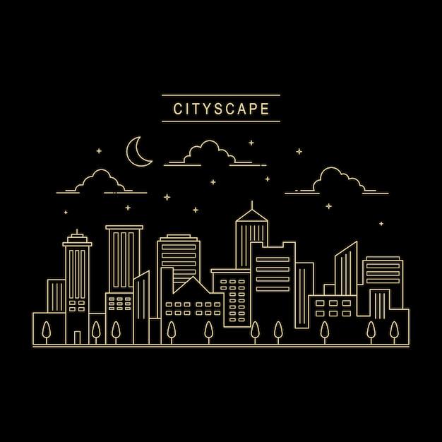 都市の景観デザインベクトルラインアートスタイル Premiumベクター