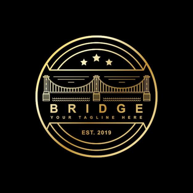 ラインアート風デザインのスタンプ風橋 Premiumベクター