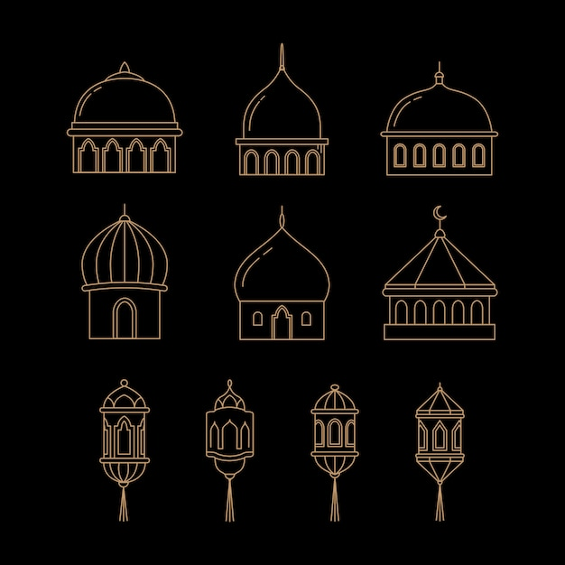Векторные иконки купол и фонарь Premium векторы