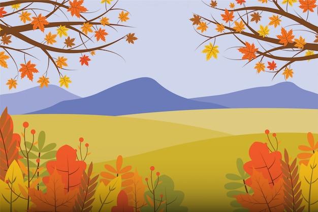 秋の風景イラスト Premiumベクター
