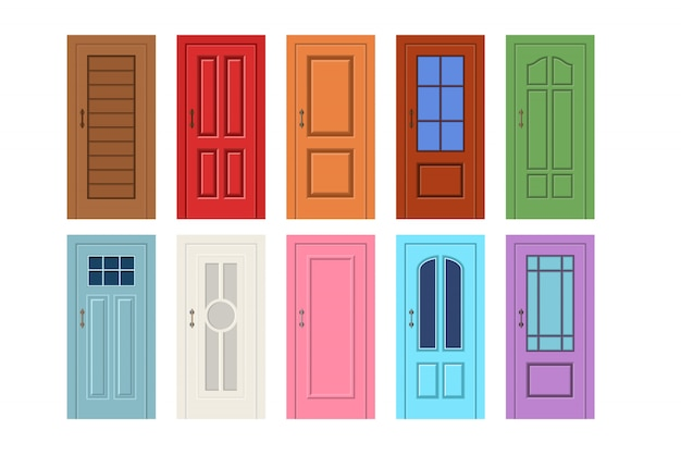 Векторная иллюстрация деревянной двери Premium векторы
