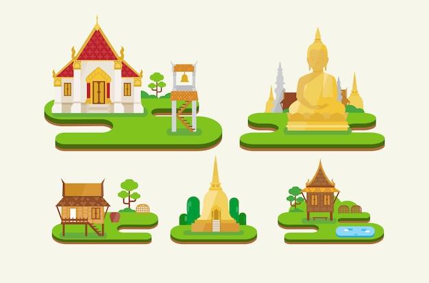 タイの寺院 Premiumベクター
